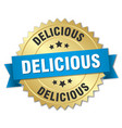 delicious 3d gold badge with blue ribbon vector image vector image