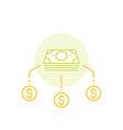 financial diversification money split line icon vector image vector image
