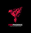 fire phoenix design template vector image