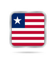 flag of liberia metallic gray square button vector image vector image