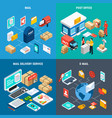 four squares mail isometric icon set vector image vector image