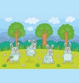 funny rabbits vector image vector image