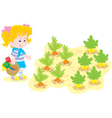 Girl in a vegetable garden vector image