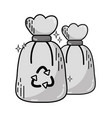 grayscale garbage trash bags with recycle symbol vector image vector image