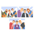 group people characters looking at camera from vector image vector image