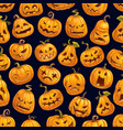 halloween pumpkin pattern holiday card design vector image vector image