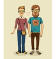 hipsters couple vector image vector image
