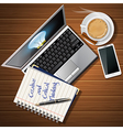 laptop and mobile phone with hot coffee and book vector image vector image