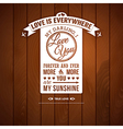 Love you poster in retro style on a wooden vector image vector image