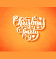 merry christmas party poster with hand-drawn vector image vector image
