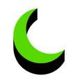 moon sign green 3d icon with vector image