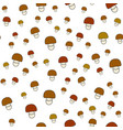 mushrooms flat seamless pattern on white vector image vector image