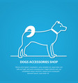 outline dog silhouette on white background vector image vector image