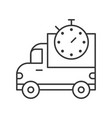 pickup truck and stop watch delivery estimate vector image vector image