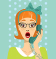 pin up girl calling on vintage phone vector image