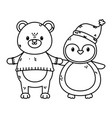polar bear with sweater and penguin with hat vector image vector image