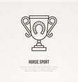 polo champion trophy linear icon golden cup with vector image vector image
