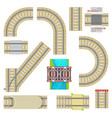 railway railroad tracks top view curvy road vector image vector image
