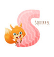 s letter and cute squirrel baby animal zoo