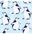 Seamless pattern penguins and snowflakes vector image vector image