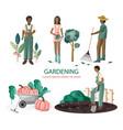 set people gardening vector image vector image
