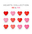 set red and pink decorative hearts with shadow vector image