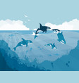 silhouettes of underwater wildlife killer whales vector image