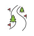 ski route color icon vector image vector image