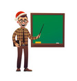 teacher in santa claus hat shows with pointer on vector image