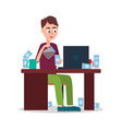 tired man sitting by table with many coffee cups vector image