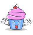 tongue out cupcake character cartoon style vector image vector image