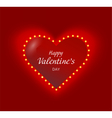 Valentine heart with lightbulbs garaland glowing vector image