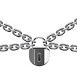 Vector illustration of metal chain and padlock vector image