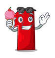 with ice cream number one index finger on cartoon vector image