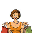 woman shopping on sale isolate on white vector image vector image