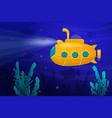 yellow submarine underwater vector image vector image