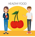 young couple with cherries healthy food vector image vector image