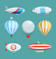zeppelins big airships and balloons with cabin vector image vector image