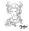 zodiac taurus as girl vector image vector image