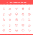 Set of Thin Line Stroke Natural Icons vector image