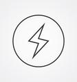 lightning outline symbol dark on white background vector image