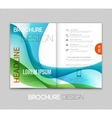 Abstract template brochure design with blue wave vector image vector image