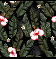 banana leaves hibiscus seamless black background vector image vector image