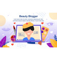 beauty blogger video channel flat banner vector image vector image