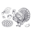 bird turkey and baked pie apple set icons vector image vector image
