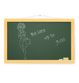 blackboard with running business woman on white vector image vector image