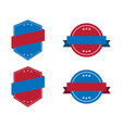 blue label icon with red ribbons and white stars vector image vector image
