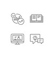 book charts and video tutorial icons vector image vector image