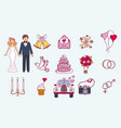bride and groom wedding couple marriage nuptial vector image vector image