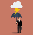 Businessman with umbrella protect from thunder vector image